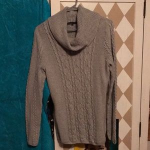 Sweater grey cable knit with a cowl neck